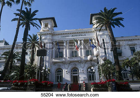 Stock Photo of Low angle view of casino, San Remo, Liguria, Italy.
