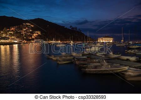 Stock Photographs of Avalon Harbor, Santa Catalina Island at Night.