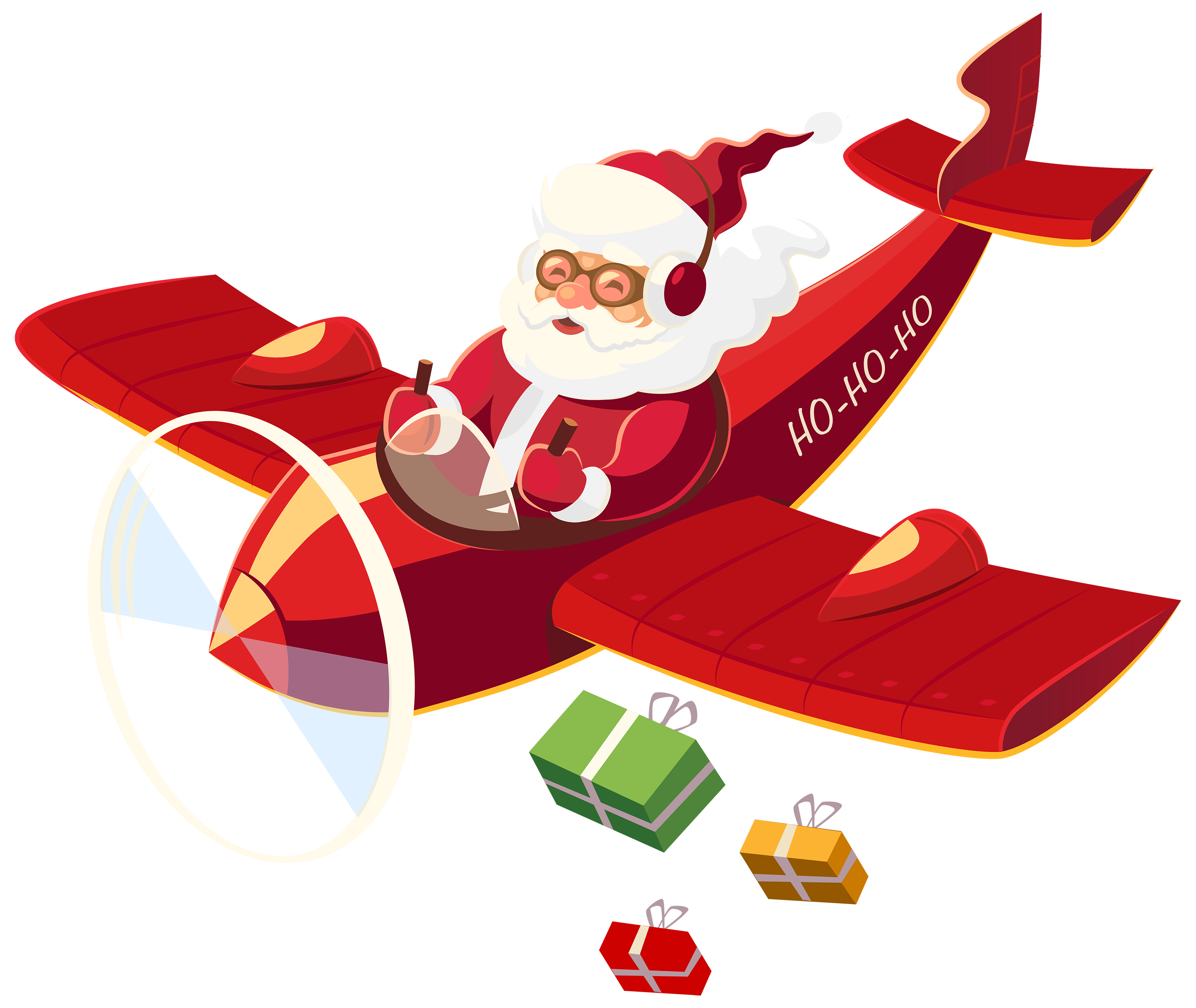 Santa Claus with Plane PNG Clipart.