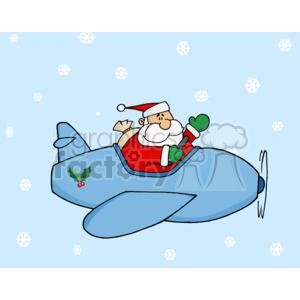 Santa flying an airplane clipart. Royalty.