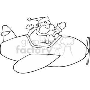 Black and White Santa in airplane clipart. Royalty.