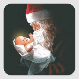Baby Jesus With Santa Stickers.