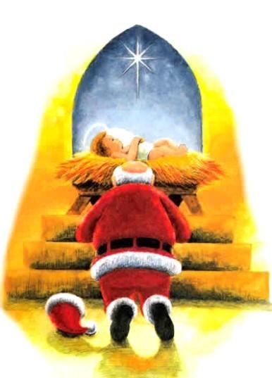 Santa Claus Worshipping Baby Jesus (Christmas 2008.
