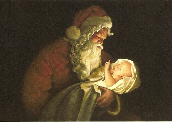 Kneeling Santa Painting at PaintingValley.com.