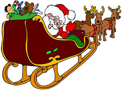 Santa, Rudolph, Sleigh.