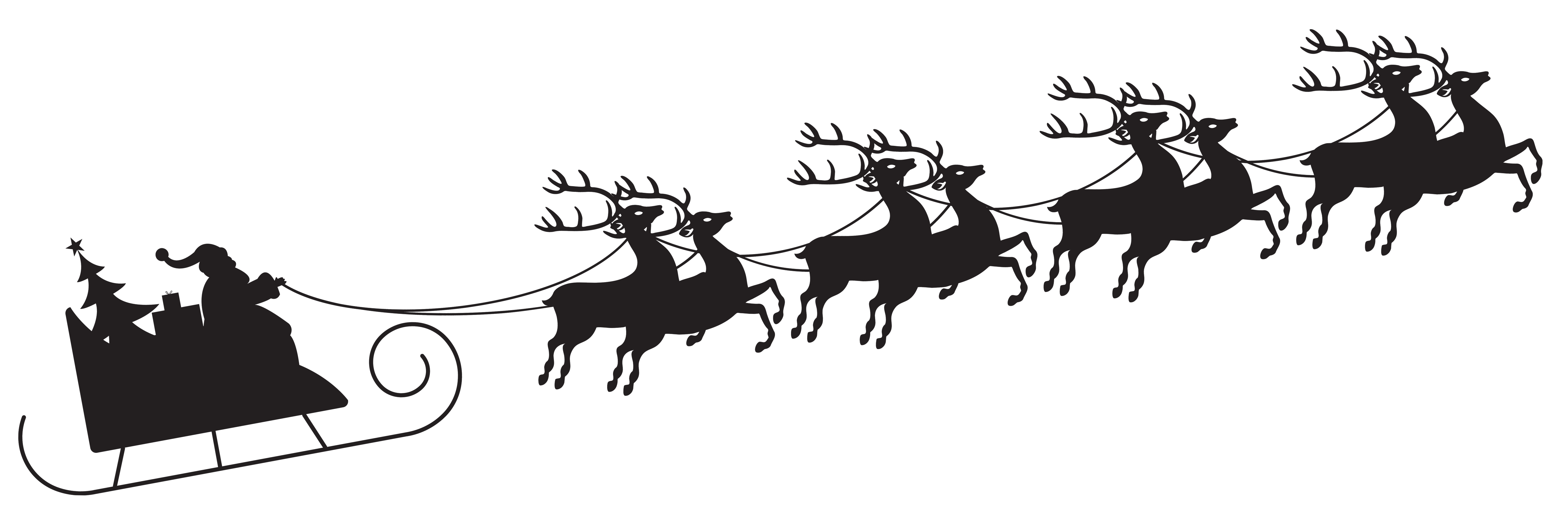 Santa with Sleigh Silhouette Transparent PNG Clip Art Image.