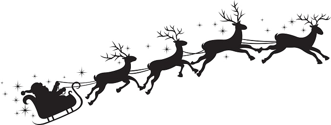Santa Flying In His Sleigh Png & Free Santa Flying In His.