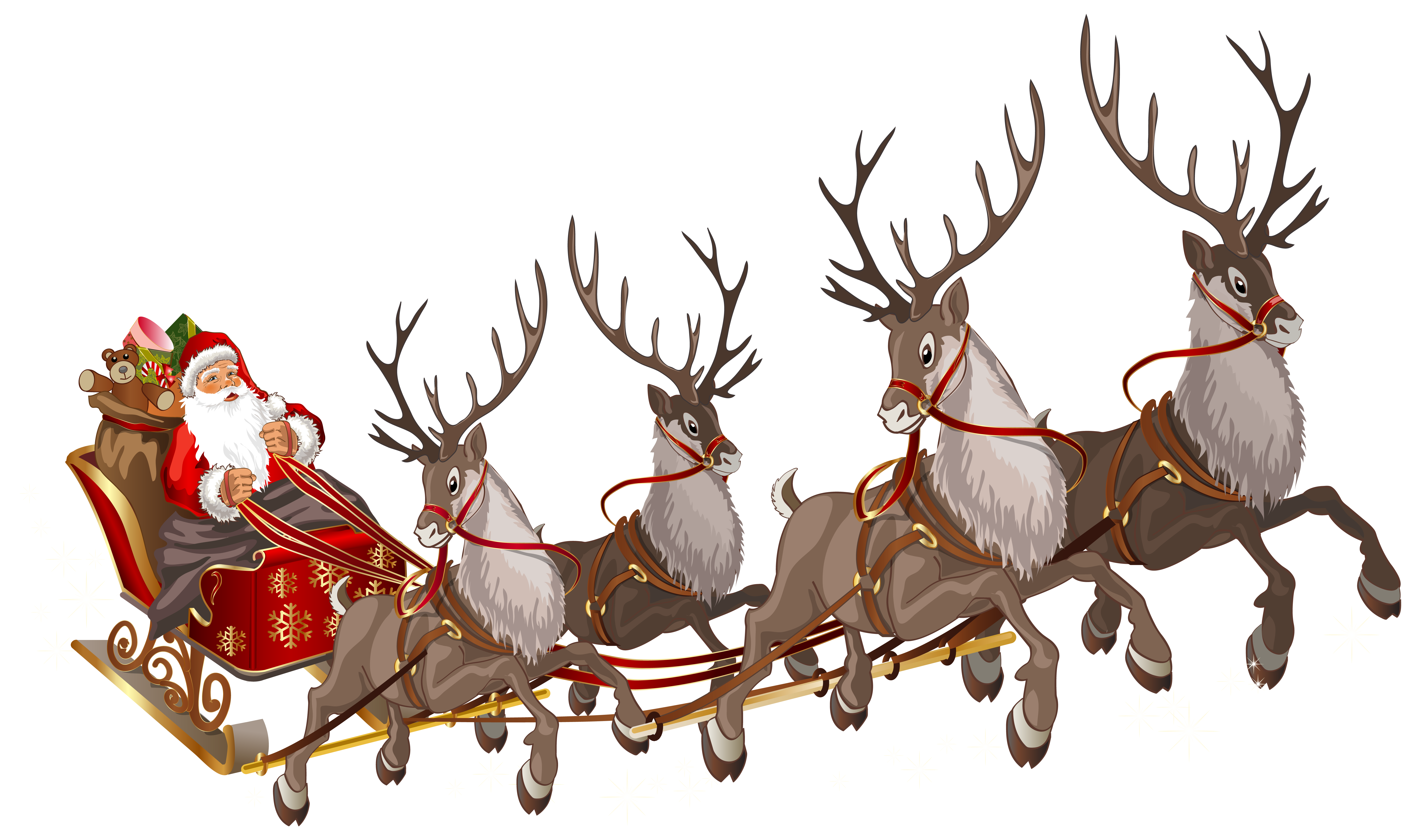Santa Claus with Sleigh PNG Clipart Image.