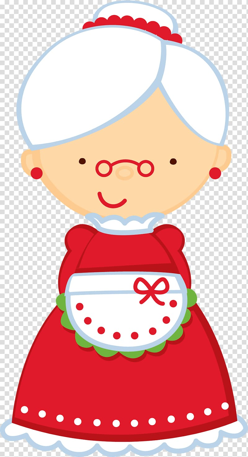Mrs. Claus Santa Claus , female chef transparent background.
