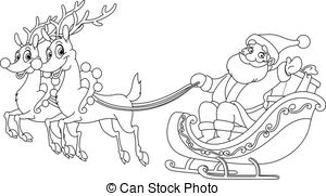 Santa And Reindeer Clipart Black And White.