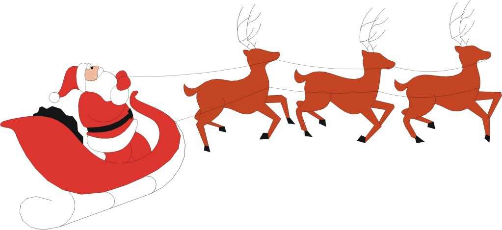 Santa With Reindeer Clipart.
