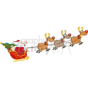 6686 Royalty Free Clip Art Santa Claus In Flight With His Reindeer And  Sleigh clipart. Royalty.