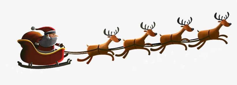 Santa Sleigh Reindeer Png.