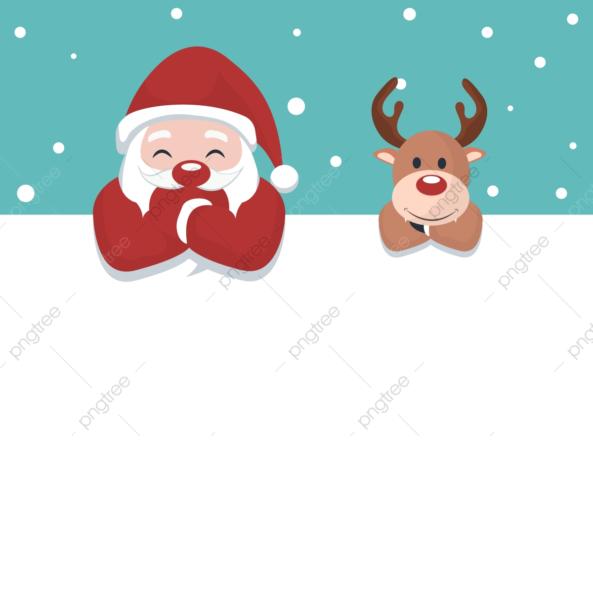 Christmas Card Of Santa Claus And Reindeer On White Poster.