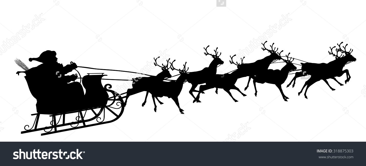 santa and reindeer silhouette clipart - Clipground