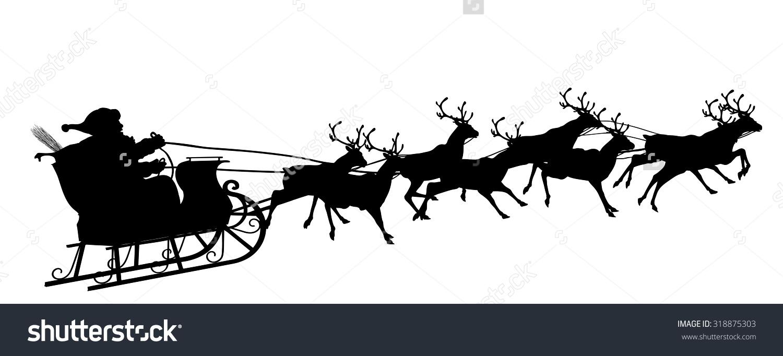 Santa Claus Reindeer Sleigh Black Silhouette Stock Vector.