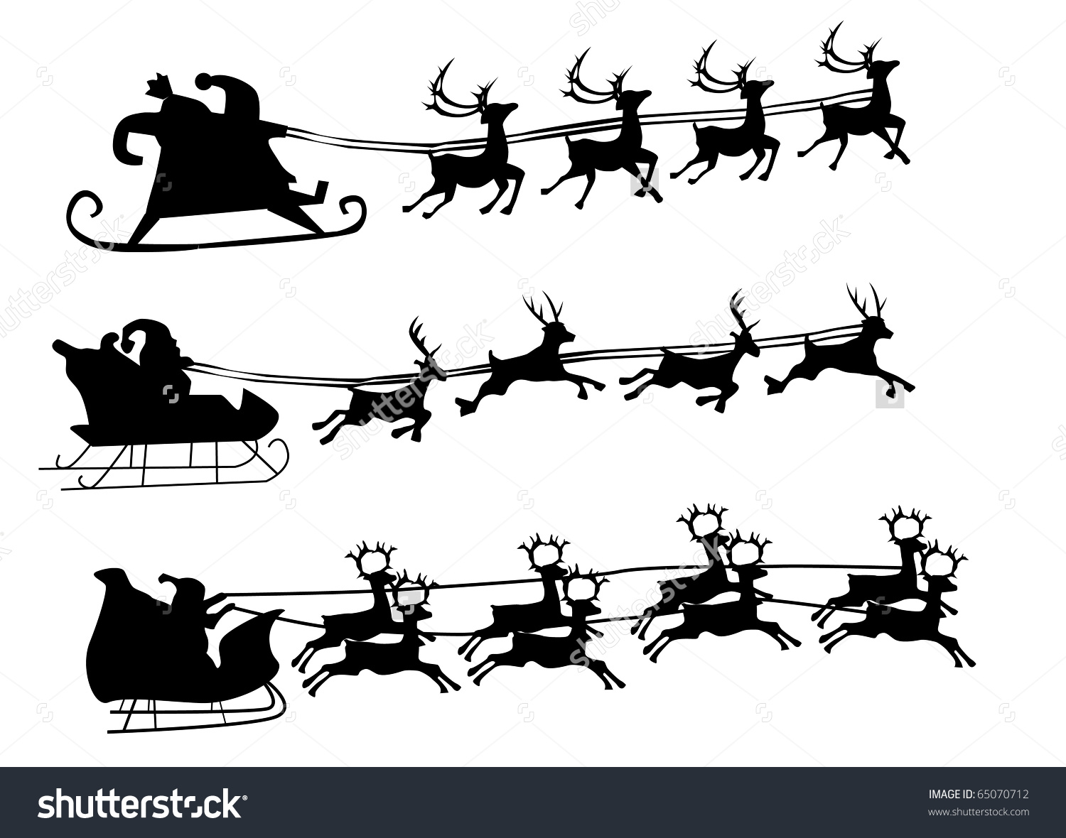 santa and reindeer silhouette clipart #11