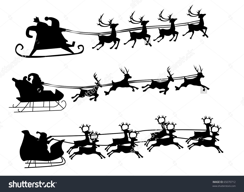 Silhouette Illustration Flying Santa Christmas Reindeer Stock.