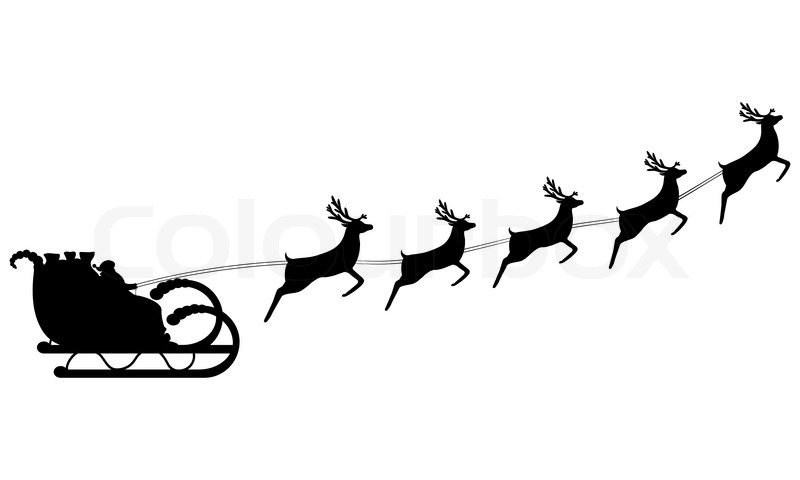 Santa Claus rides in a sleigh in harness on the reindeer.