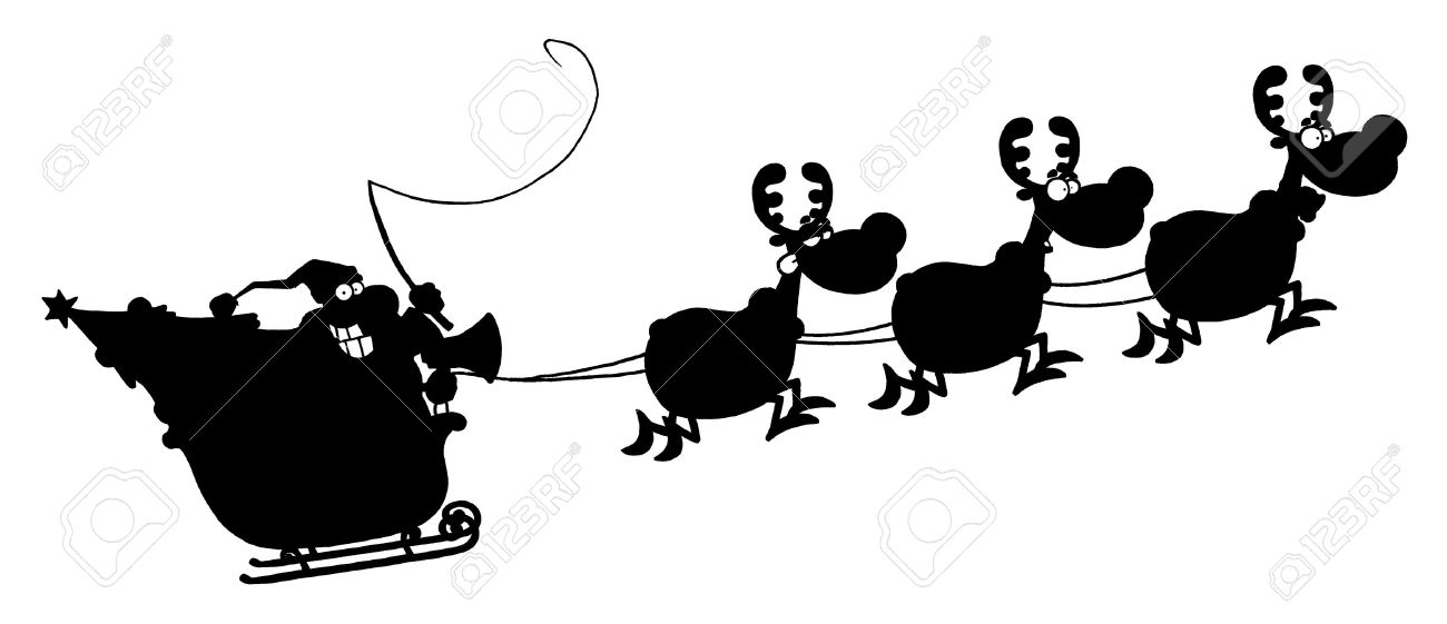 Black Silhouetted Of Magic Reindeer And Santa's Sleigh Royalty.