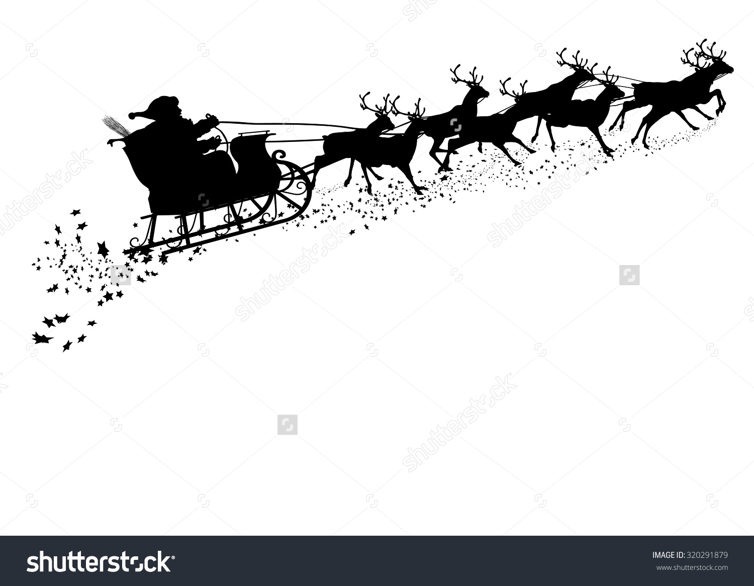 santa and reindeer silhouette clipart #15