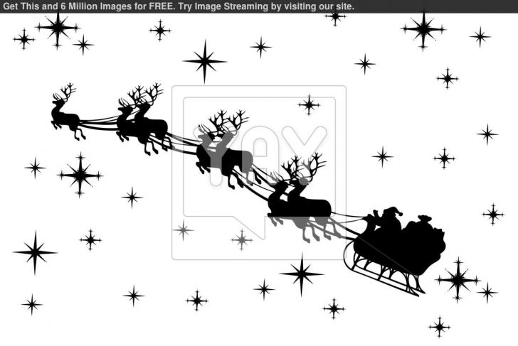 santa and reindeer silhouette clipart #14