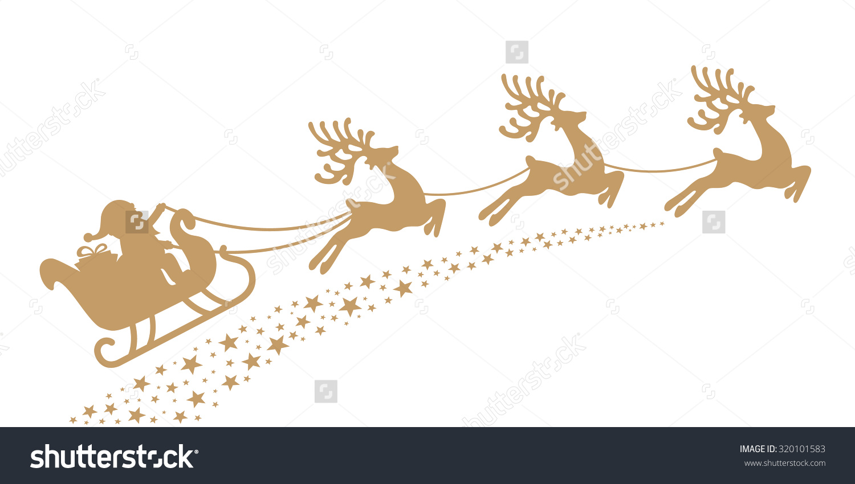 Santa Sleigh Reindeer Gold Silhouette Stock Vector 320101583.