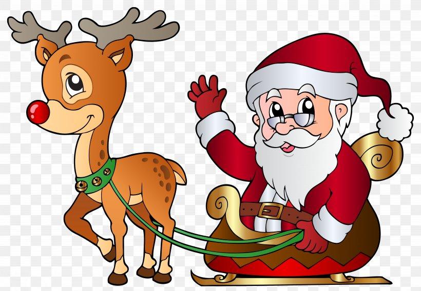 Rudolph Santa Claus Reindeer Clip Art, PNG, 6359x4406px.
