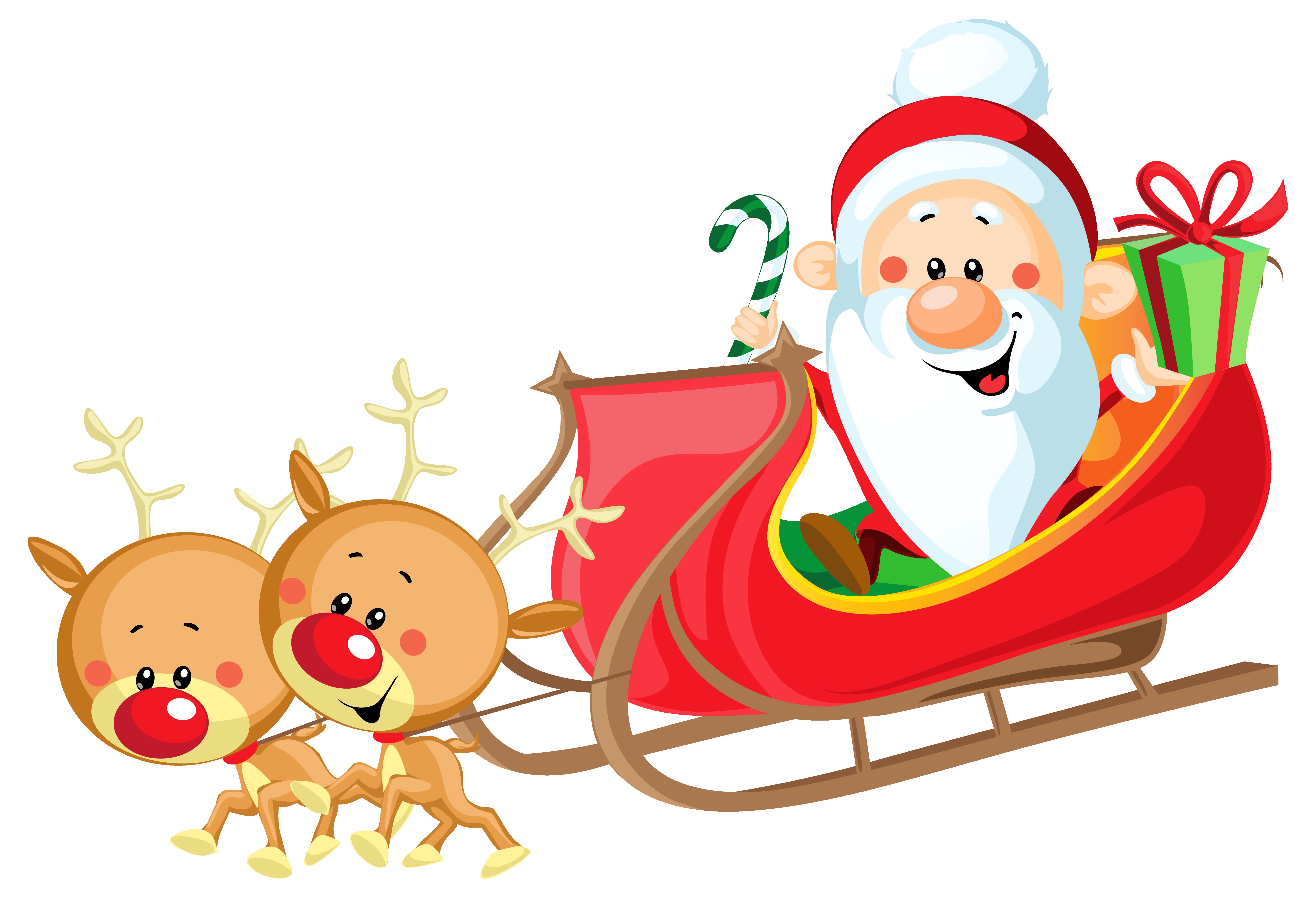 Cute Santa Sleigh Clipart Free.