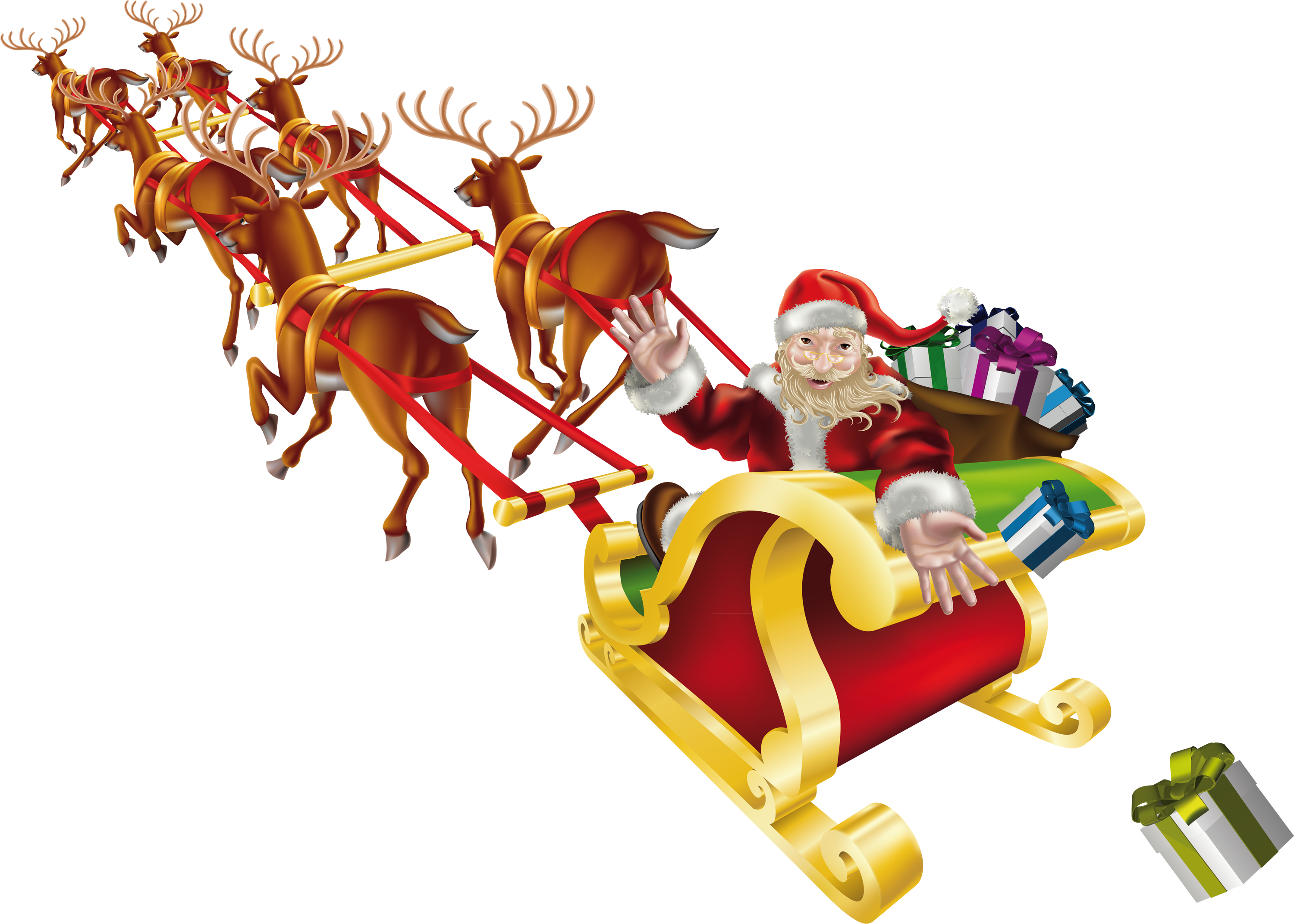 Santa sleigh PNG images free download.