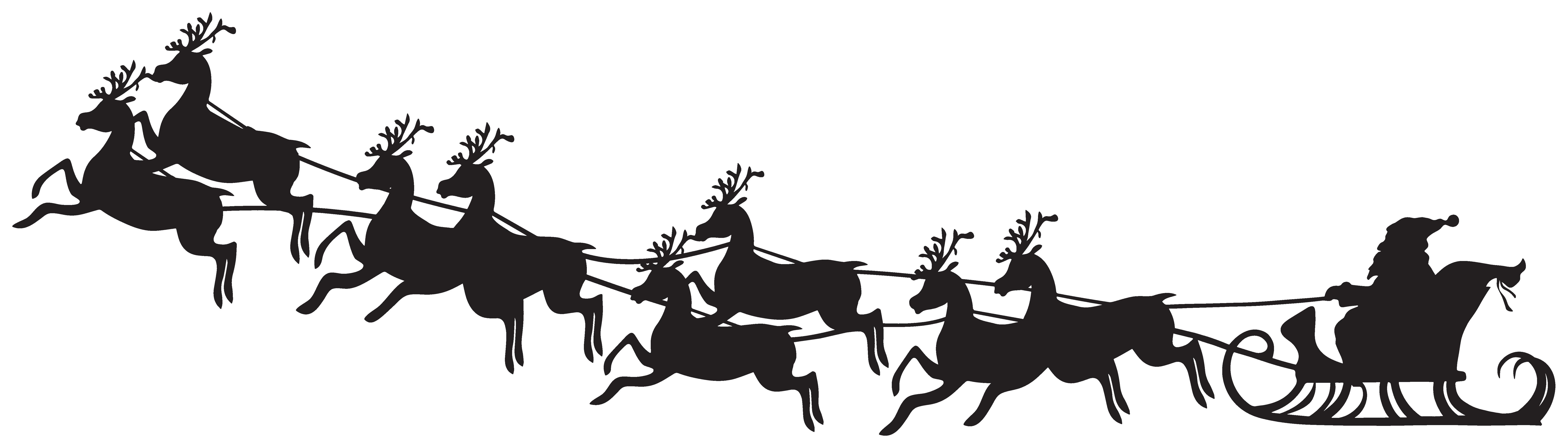 Santa Sleigh Silhouette Clip Art Image.