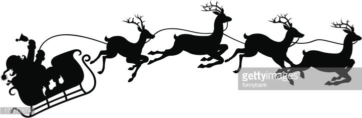 drawing of vector santa\'s sleigh silhouette..