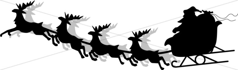 Santa and Sleigh Silhouette.