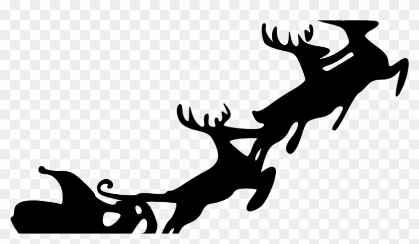 Santa Sleigh Silhouette Png, Transparent Png.