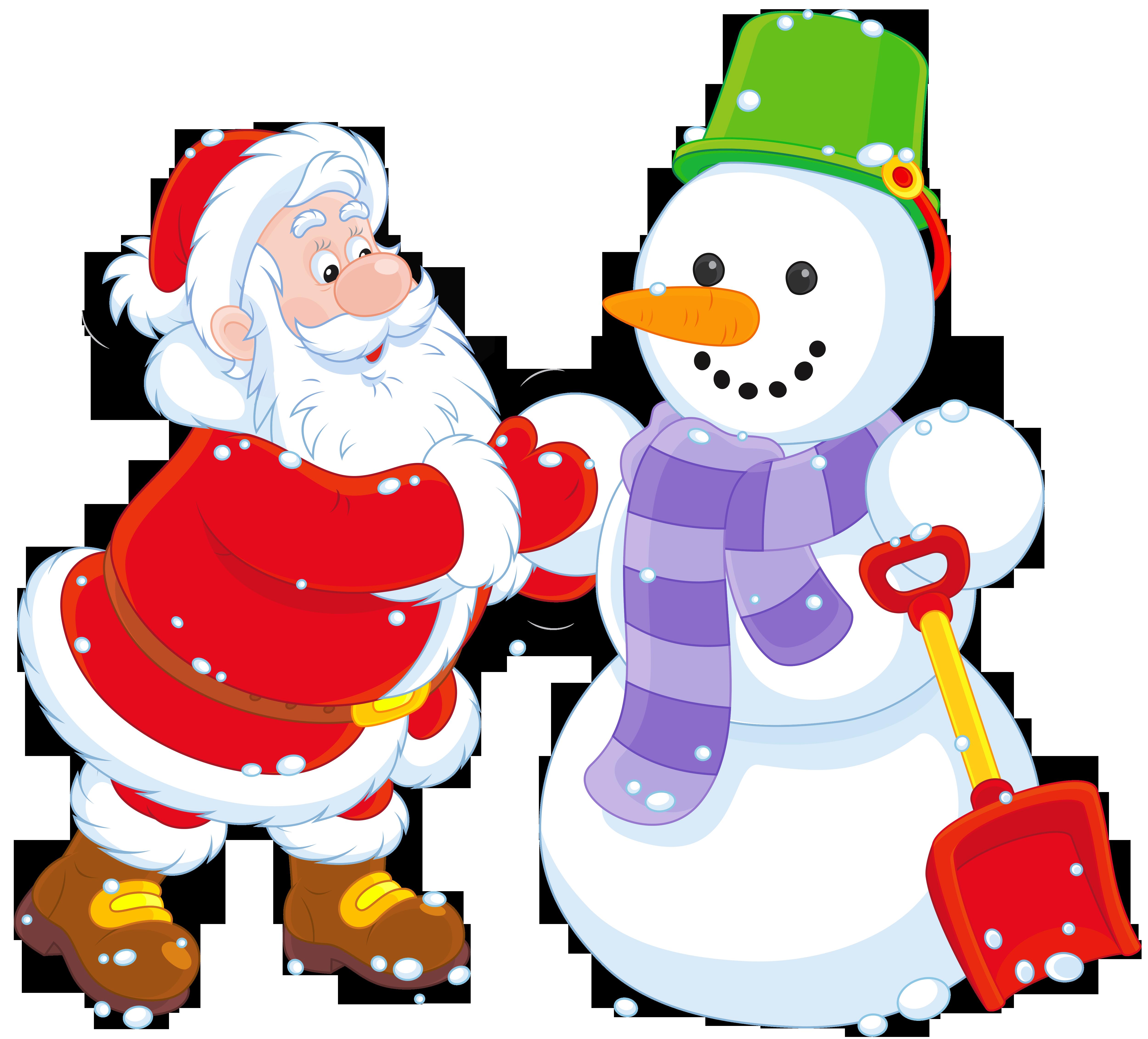 Transparent Santa and Snowman PNG Clipart.