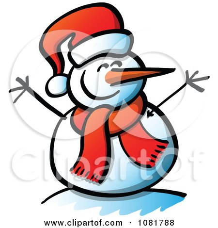 Clipart Happy Snowman With Open Twig Arms And A Santa Hat.