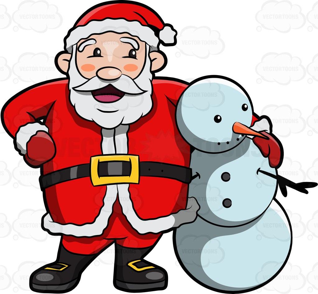 Santa Claus Hugging A Snowman Cartoon Clipart.