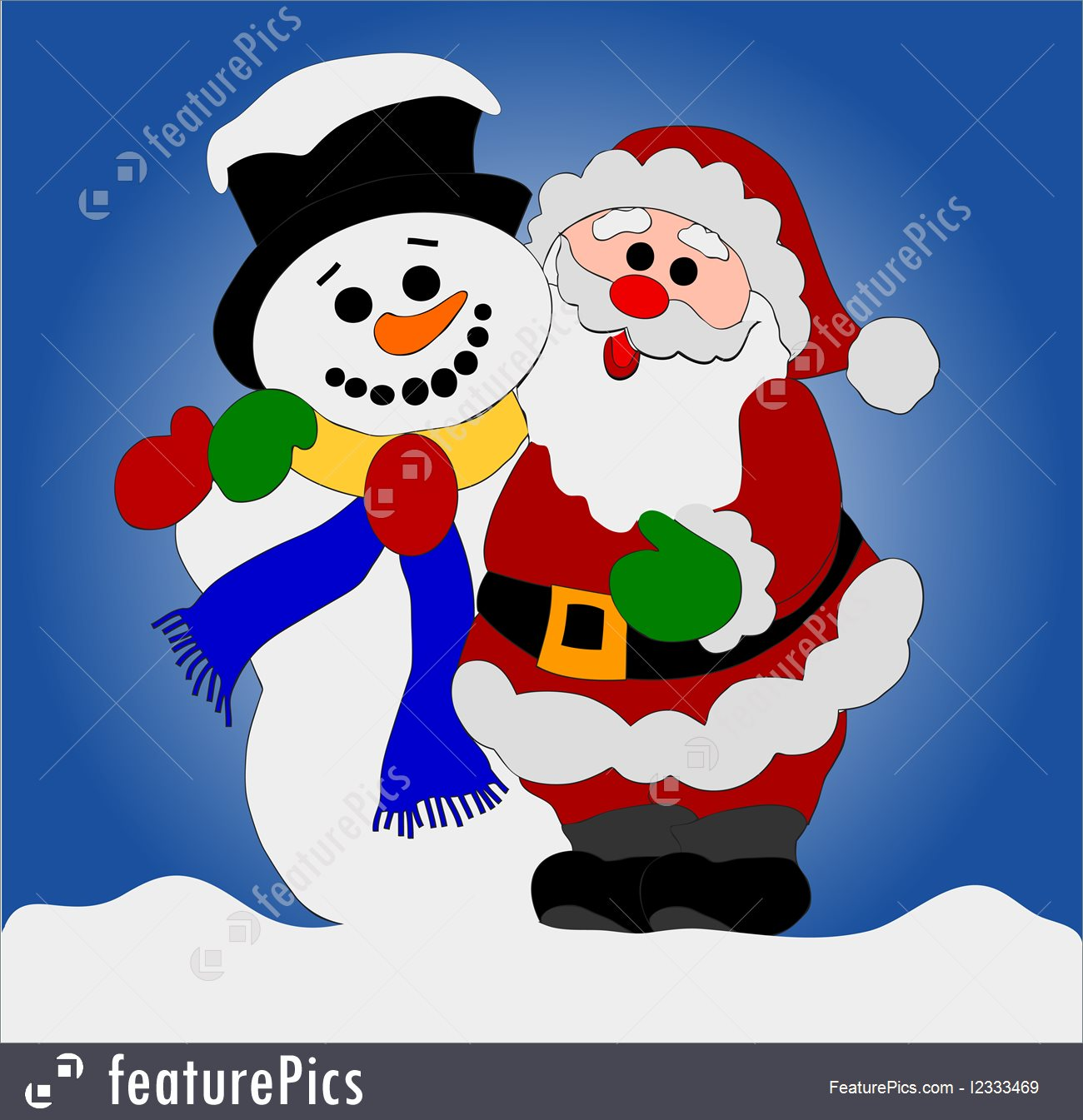 Illustration Of Santa Clause And Snowman.