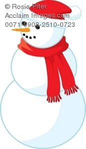 Clip Art Illustration Of A Snowman Wearing A Scarf And A Santa Hat.