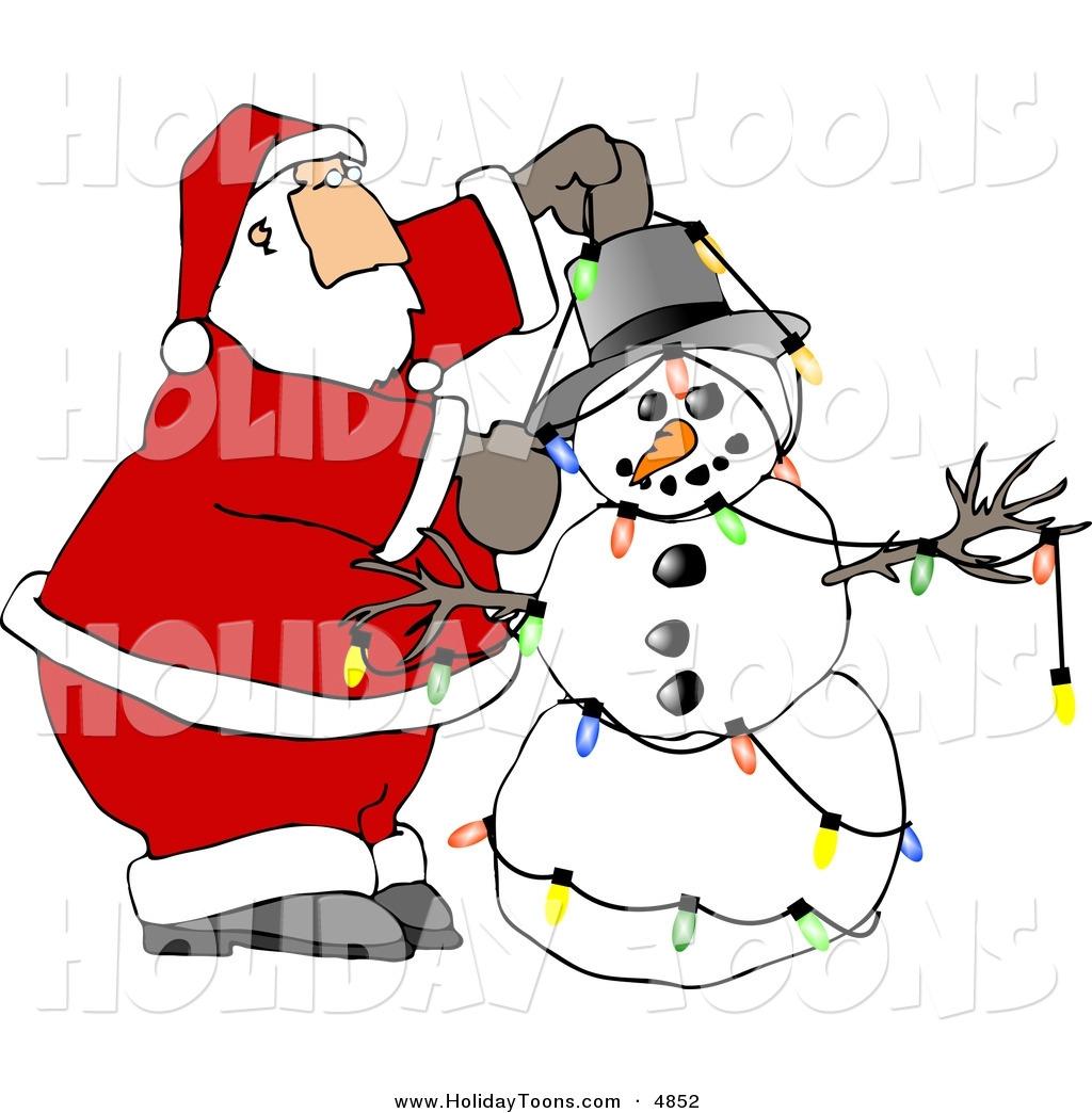 Royalty Free Holiday Clipart of a Caucasian Santa Decorating.