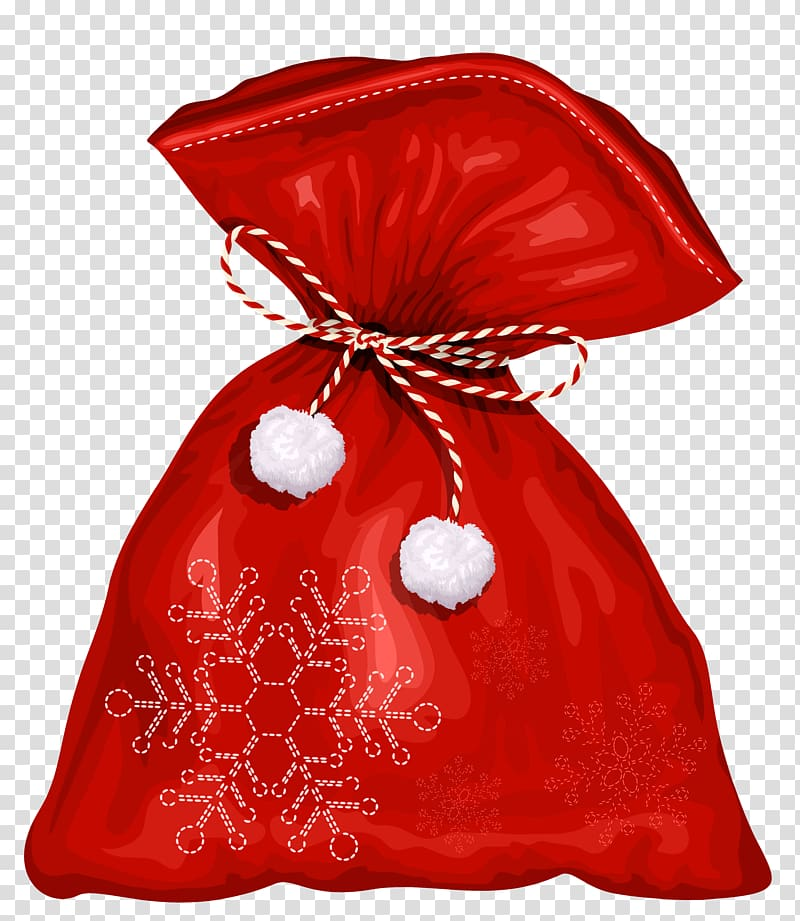 Red and white snowflakes embroidered pouch, Santa Claus.