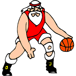 Santa Playing Basketball clipart, cliparts of Santa Playing.