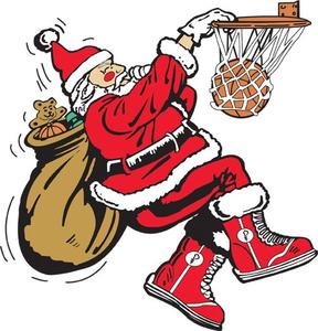 Santa Playing Basketball Clipart.