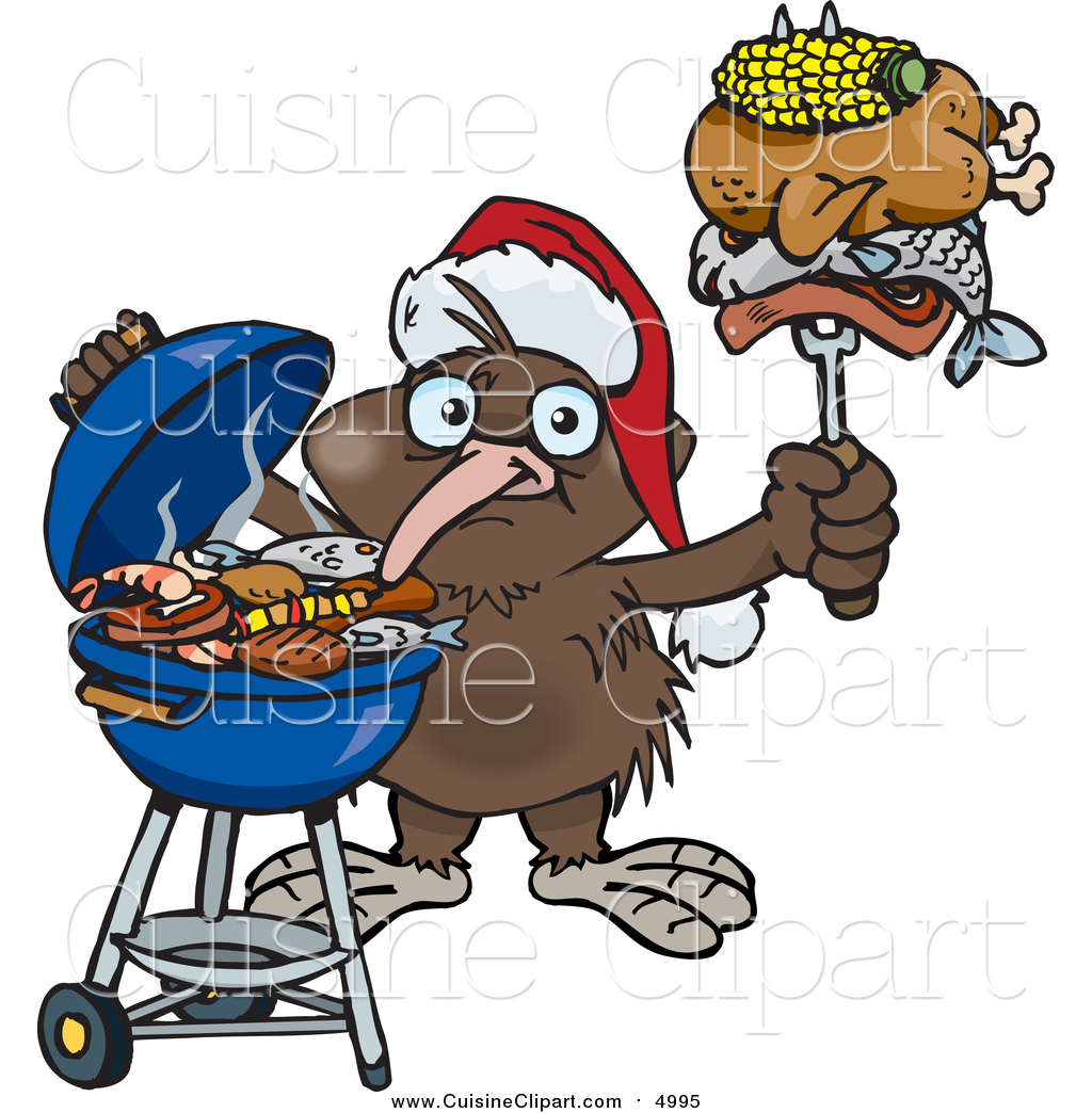 Cuisine Clipart of a Kiwi Bird Wearing a Santa Hat and.