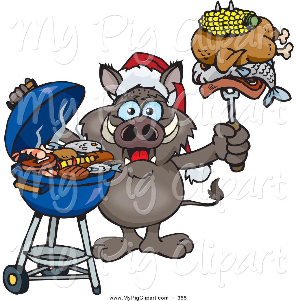 Swine Clipart of a Festive Grilling Boar Wearing a Santa Hat.