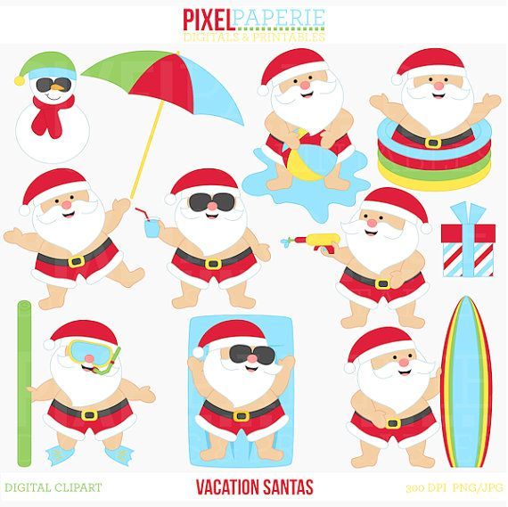 santa clipart clip art summer beach tropical pool.
