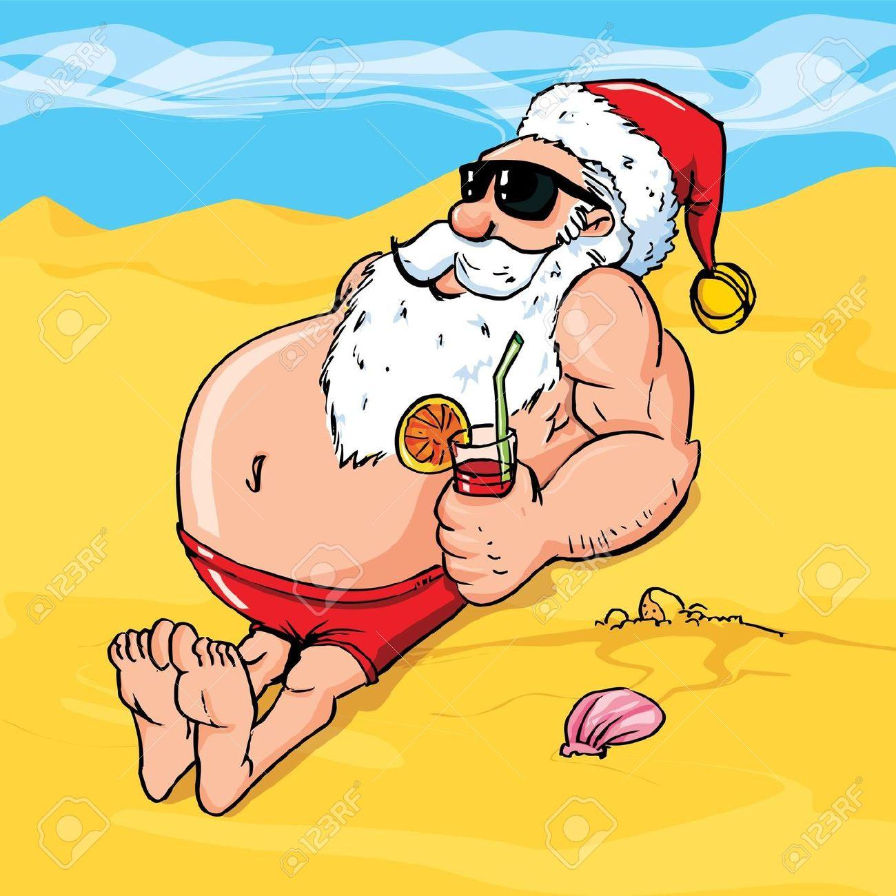 Santa beach clipart free.