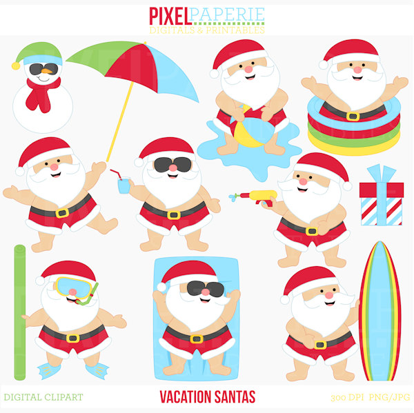 summer santa beach tropical pool Vacation Santas by PaperiePixel.