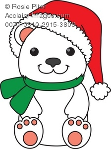 Royalty Free Clipart Illustration of a Polar Bear in a Santa Hat.