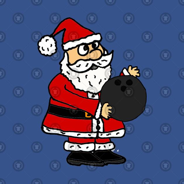 Funny Santa Claus Bowling Christmas Cartoon.